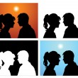 Silhouettes pair of lovers - Stock Vector