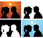 Silhouettes pair of lovers — Stock Vector