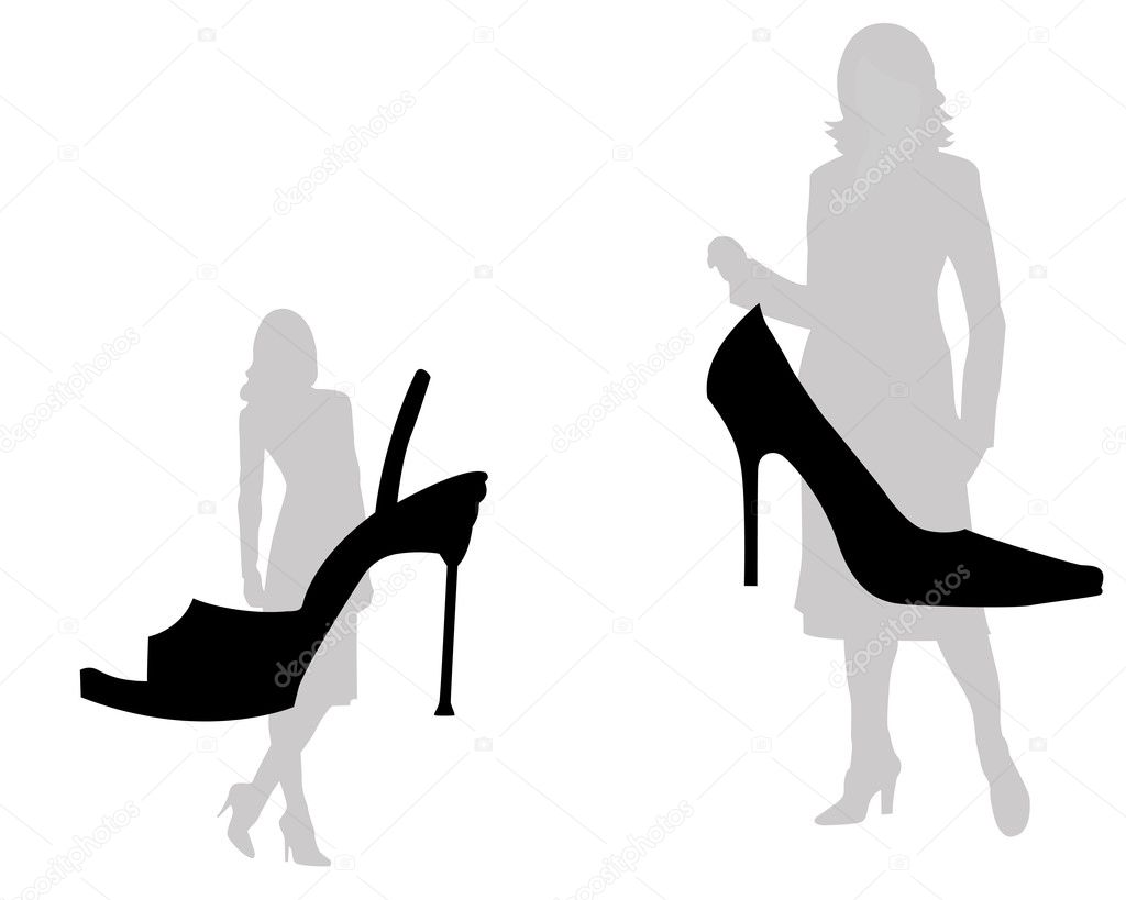 The woman and footwear on a white background  Stock Vector #3256354