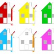 Stock Vector: Multicoloured houses