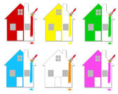 Multicoloured houses — Stock Vector