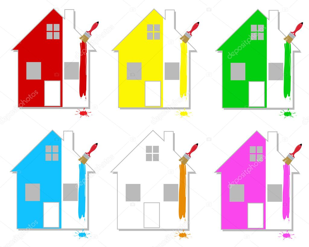Set of multicoloured houses on a white background — Stock Vector #3340436