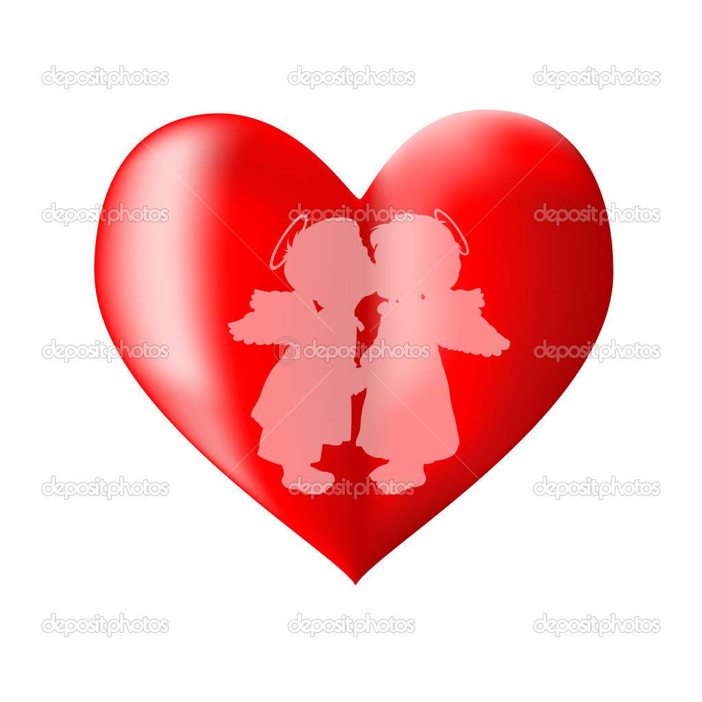 The angels and heart on a white background  Stock Vector #3779868