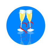Blue reflection of two glasses — Stock Vector