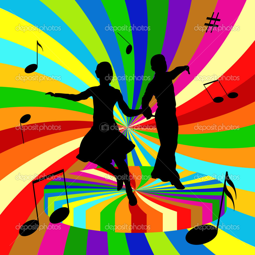Silhouettes of the dancing men and women on a colored background — Stock Vector #3806164