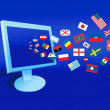 The computer and flags - Stock Vector