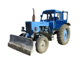 Old blue vintage tractor isolated — Stock Photo