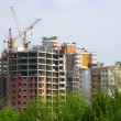 New house construction view with cranes — Stock Photo