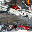 Closeup of burning fire wood logs and ash — Stock Photo