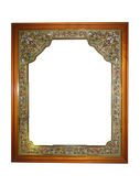 Empty picture wooden frame with pattern isolated — Stock Photo