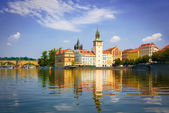 View of monuments from the river in Prague. — Stock Photo