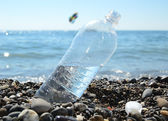 Bottle of the water on the beach of the sea — Stock Photo