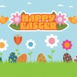 Stock Vector: Easter garden