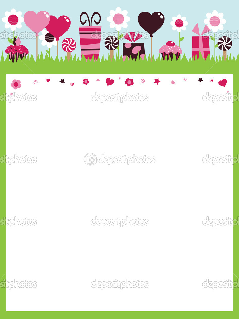 Party background with cakes, gifts and balloons ready for your text — Stock Vector #2749889