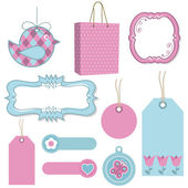 Pink and blue tags — Stock Vector
