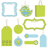Green and blue tags — Stock Vector