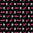 Skulls and hearts - Imagen vectorial