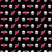 Skulls and hearts — Stock Vector