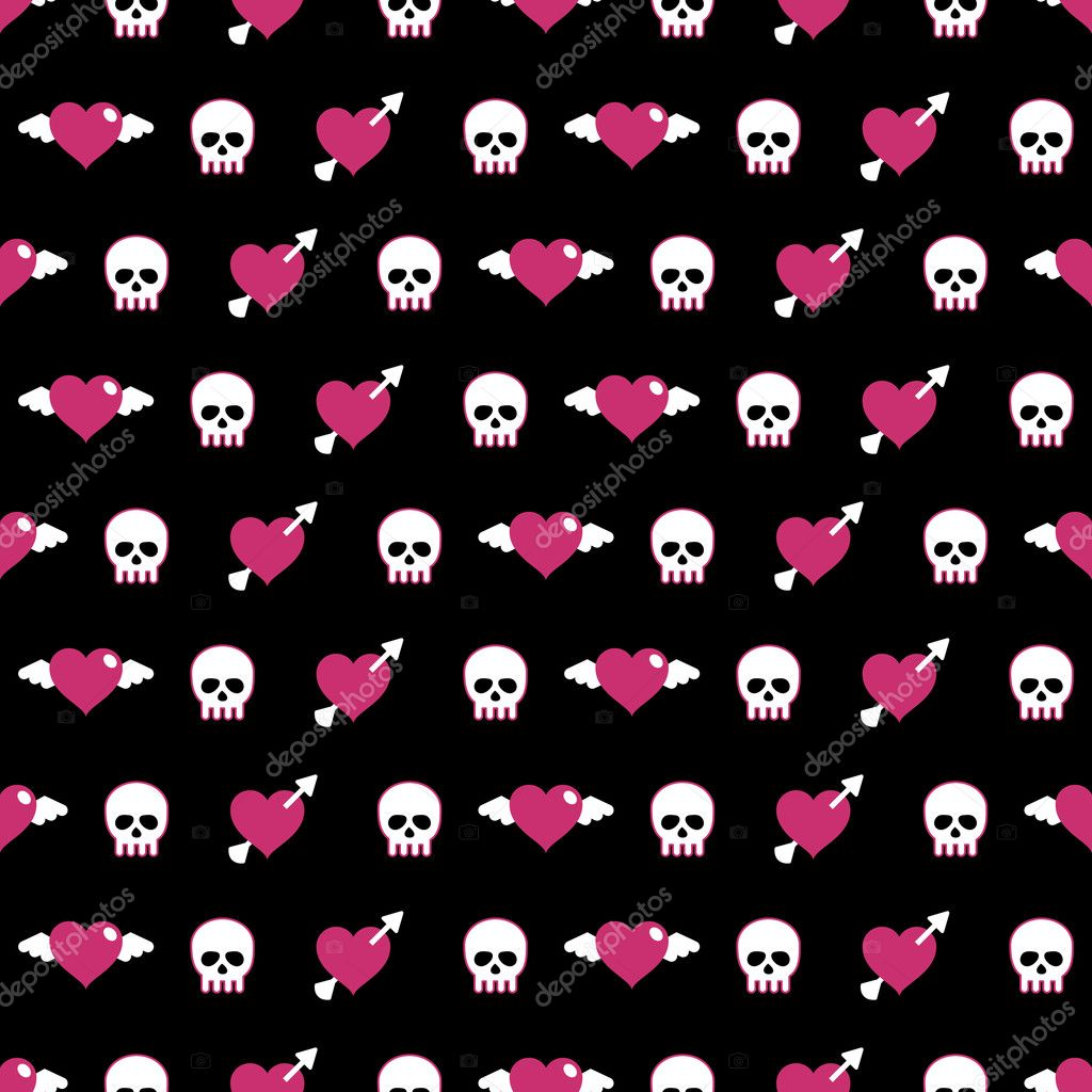 Seamless pattern swatch with skulls and hearts — Stock Vector #2863528