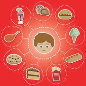 Opciones de comida saludable — Vector de stock