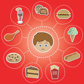 Unhealthy food options — Vector de stock