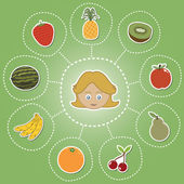 Healthy food options — Stock Vector