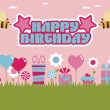 Stock Vector: Pink and blue birthday