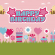 Pink and blue birthday — Stock Vector