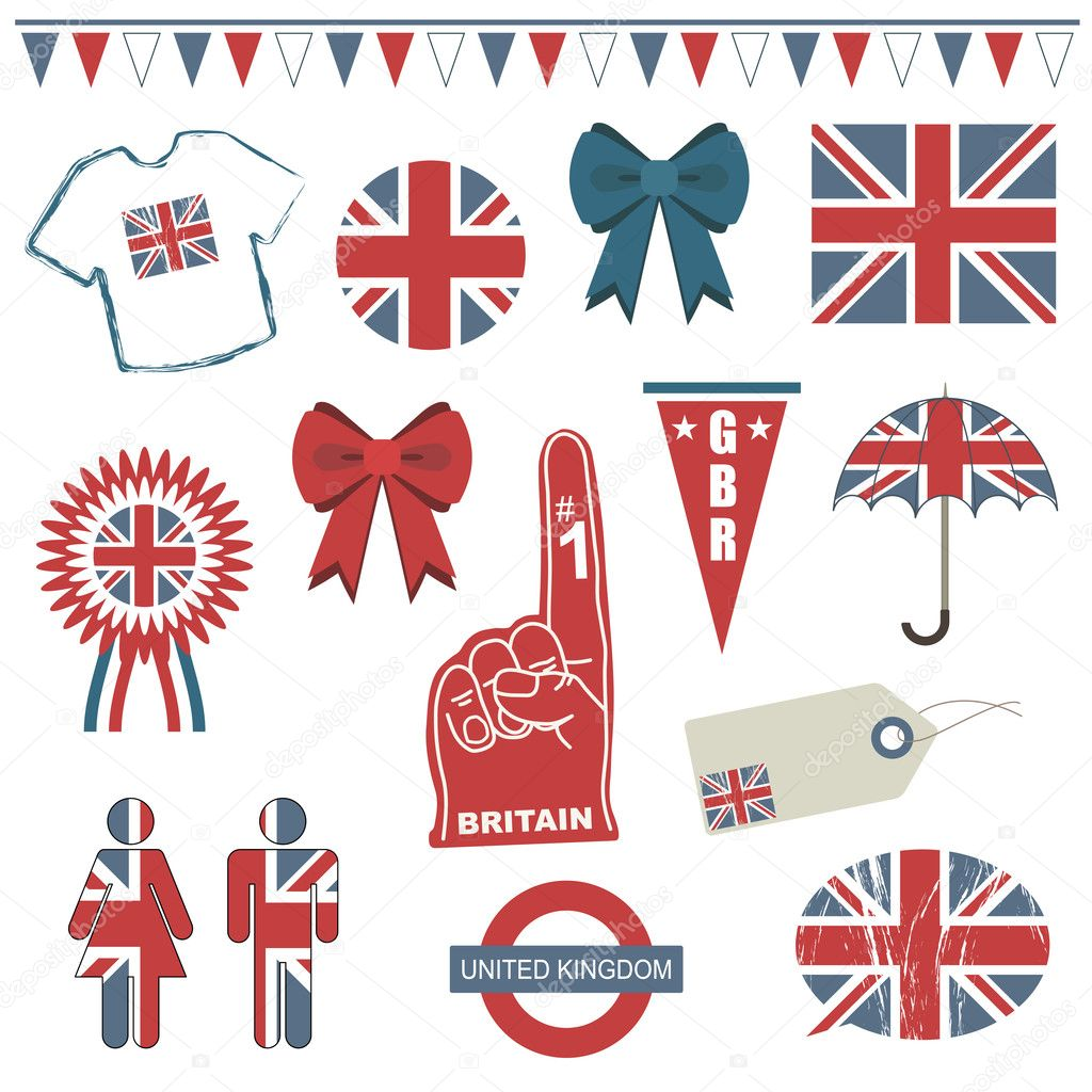 Collection of great britain supporter clip art isolated on white — Stock Vector #2962090