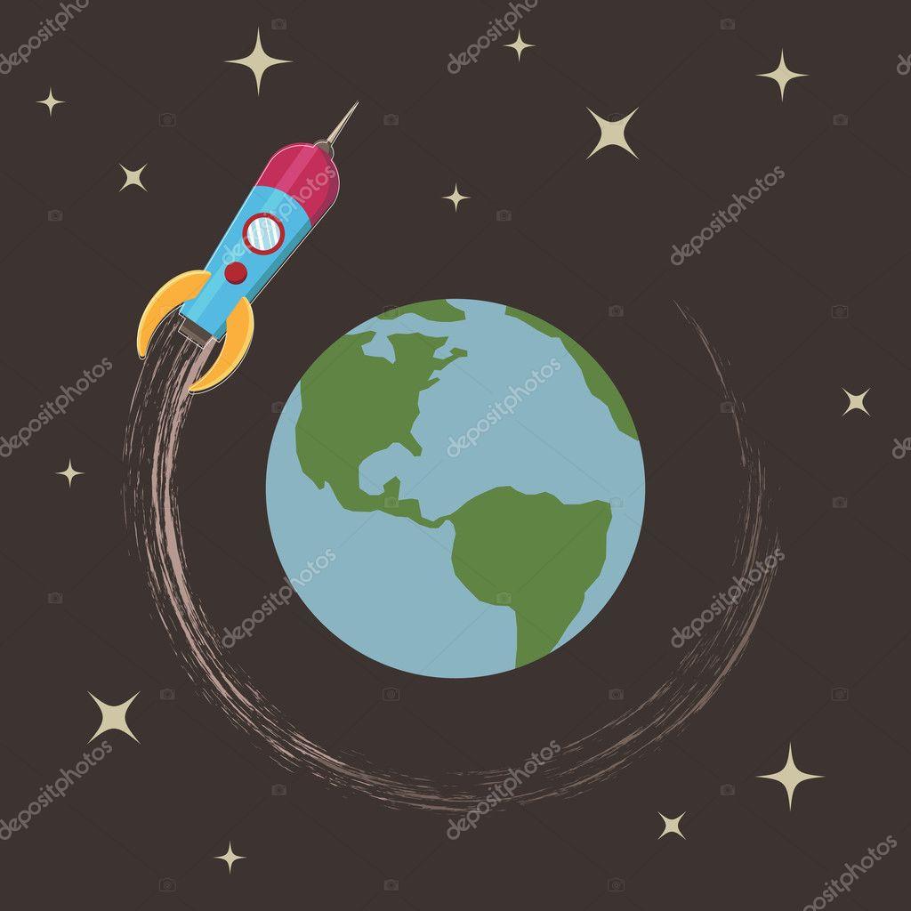 Рисунок наша планета и ракета