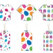Party shirts and tags — Stock Vector