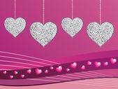 Silver glitter love hearts — Stock Vector