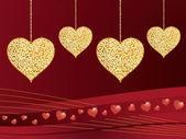 Gold glitter love hearts — Stock Vector