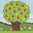 Red apple tree - Stock Vector
