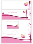 Pink stationery set — Stock Vector