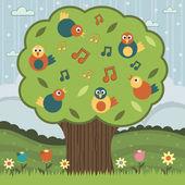 Song bird tree — Stock Vector