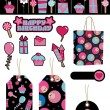 Black and pink party items - Stock Vector