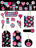 Black and pink party items — Stock Vector