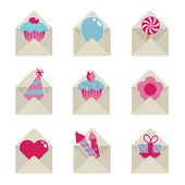 Mail party icons — Stock Vector