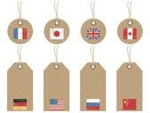Značky vlajky světa — Stock vektor