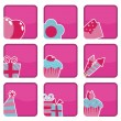 Pink party icons — Stock Vector