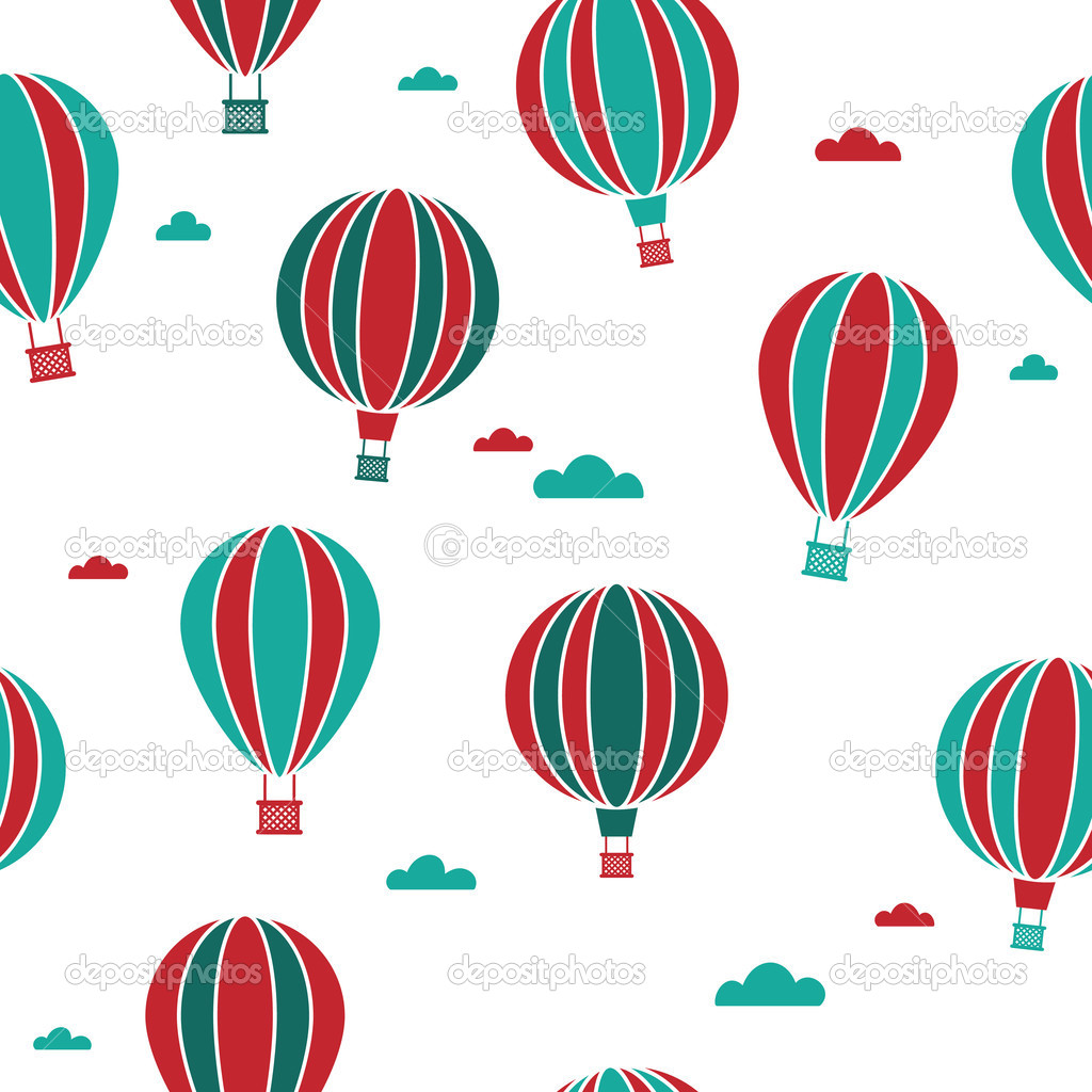 Seamless hot air balloons pattern swatch with clipping mask  Stock Vector #3306963