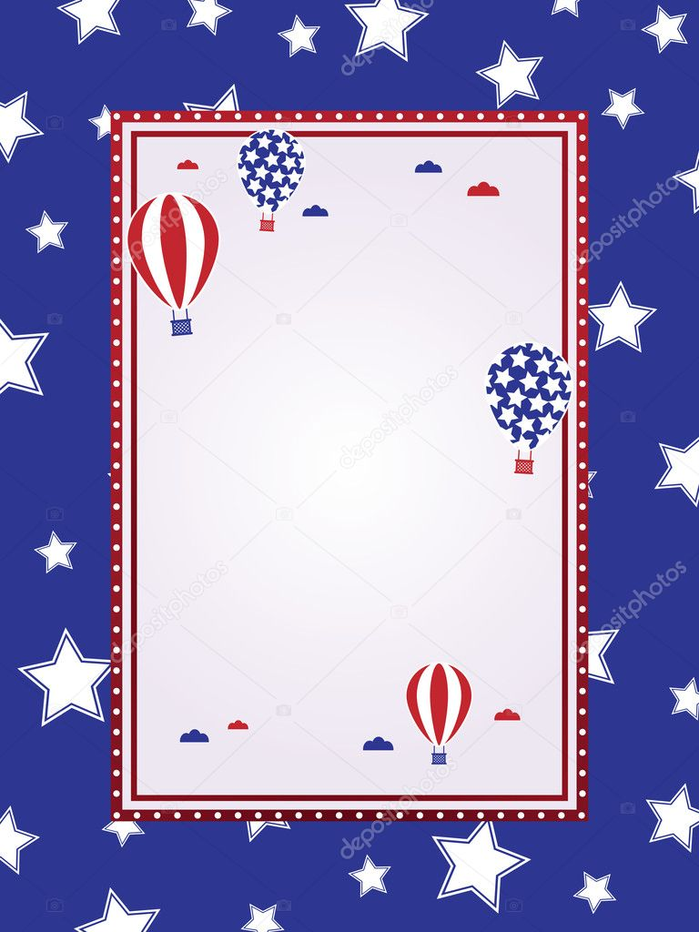 Fourth of july frame with hot air balloons ready for text — Stock Vector #3325450
