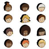 Kids faces — Stock Vector