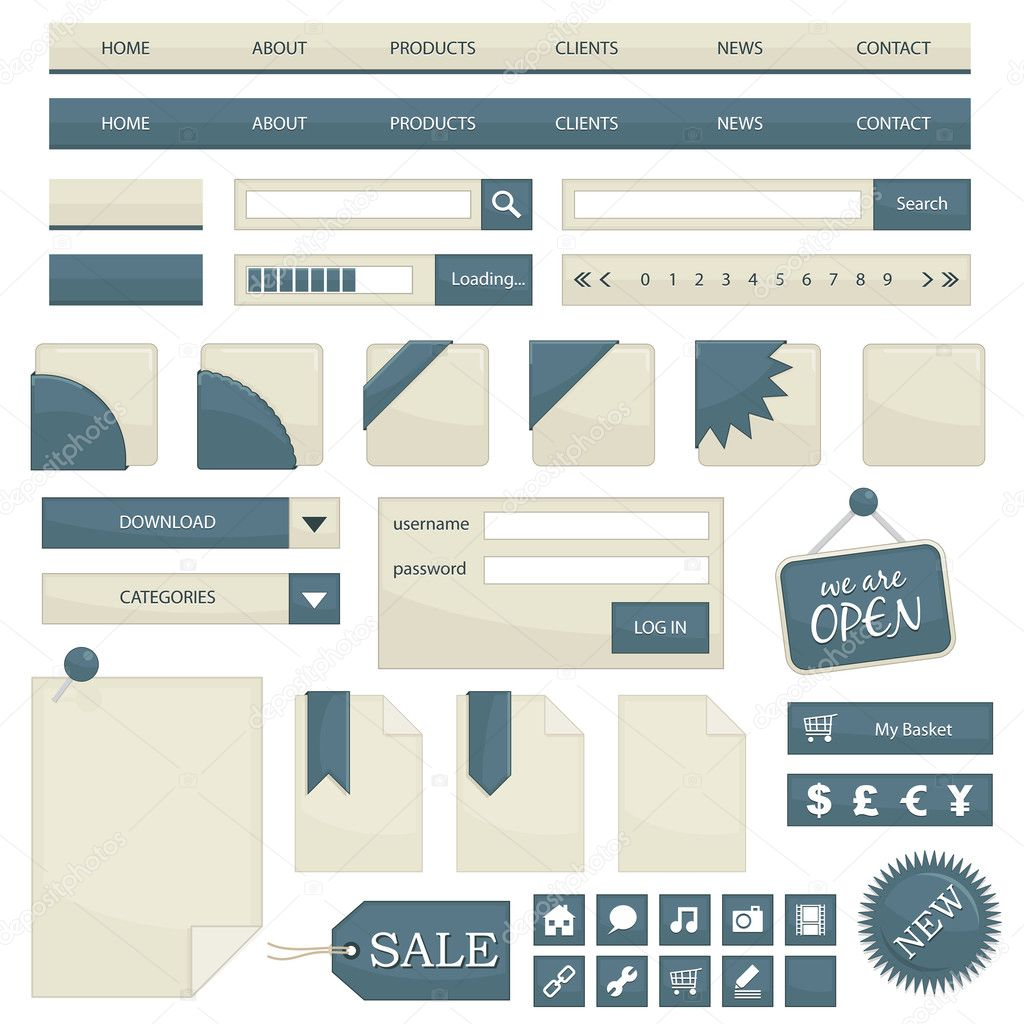 Web navigation with buttons, tags and icons isolated on white, no gradients — Stock Vector #3406202