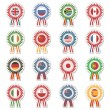 Flag rosettes — Stockvectorbeeld