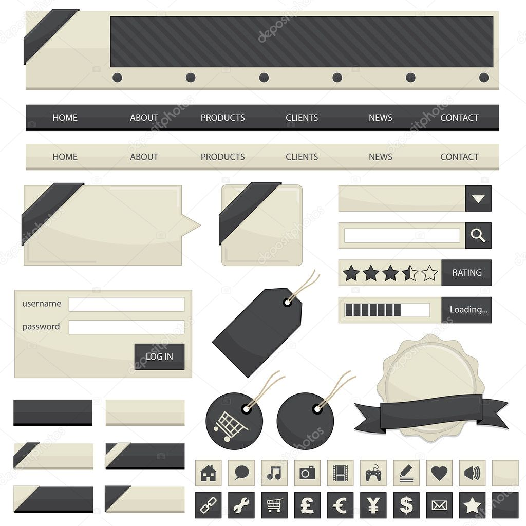 Web navigation with buttons, tags and ribbons isolated on white — Stock Vector #3577313