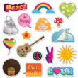 Vettoriale Stock : Peace and love stickers