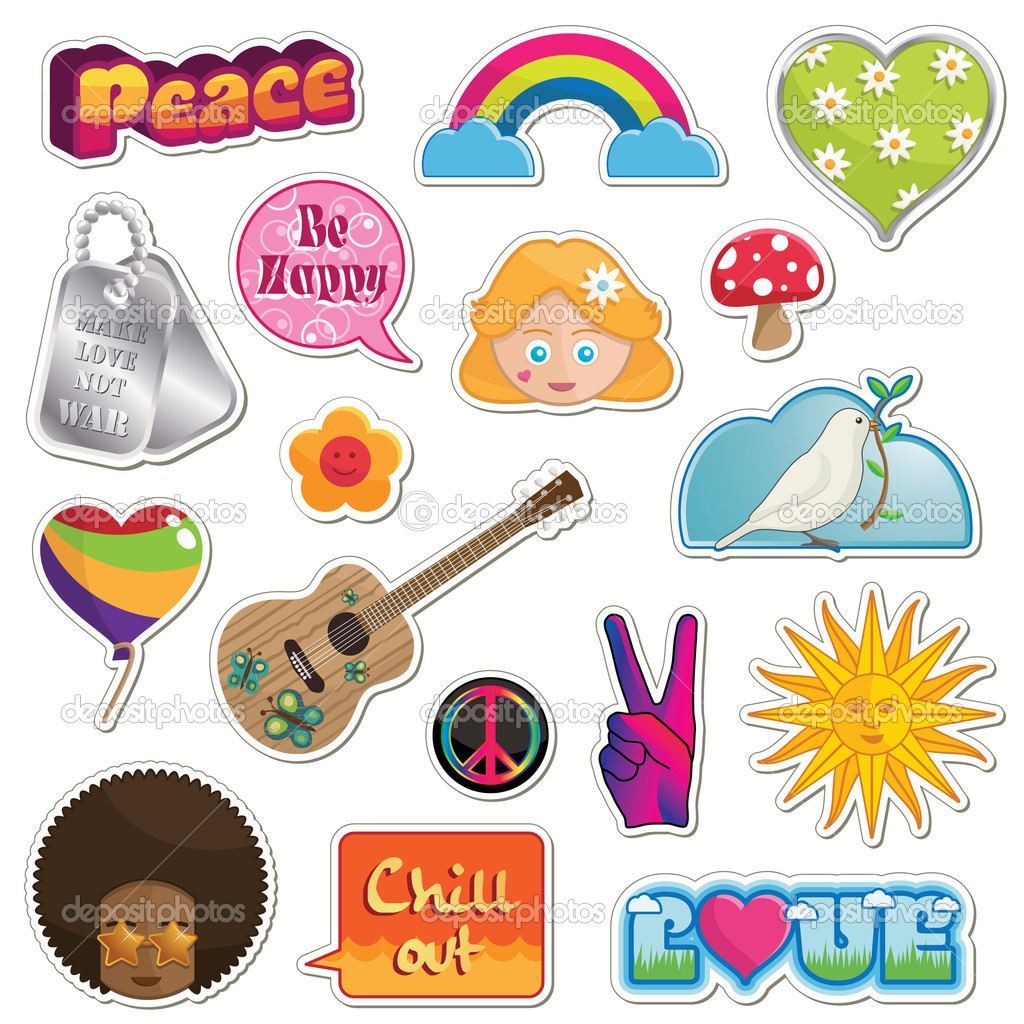 Collection of peace and love stickers isolated on white — Векторная иллюстрация #3681085