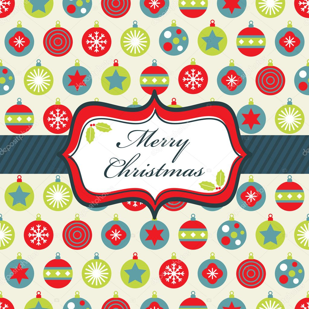 Wrapping paper with blue, green and red christmas baubles and banner — Imagen vectorial #3782814